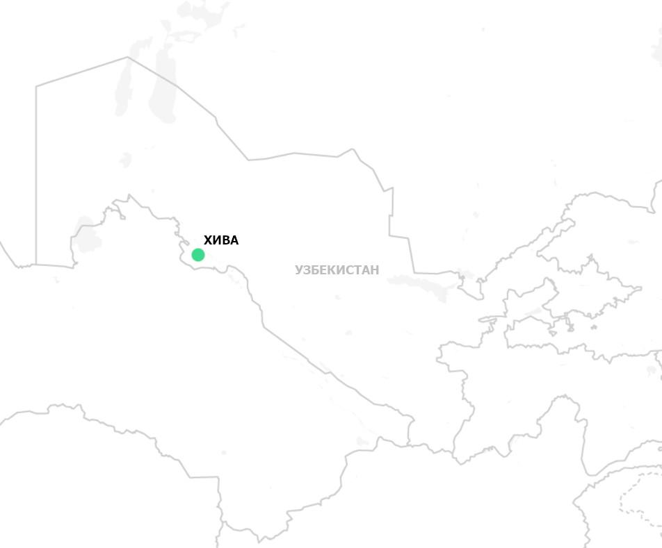 Хива на карте Узбекистана