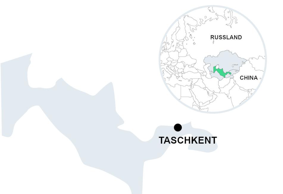 Usbekistan karte mit Zentralasien