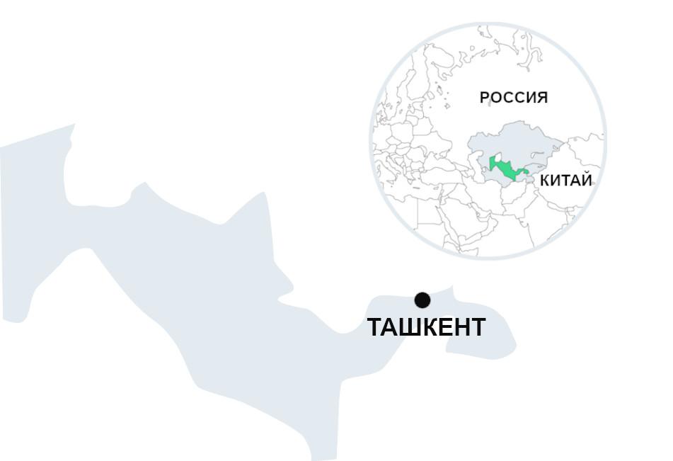 Узбекистан на карте Средней Азии